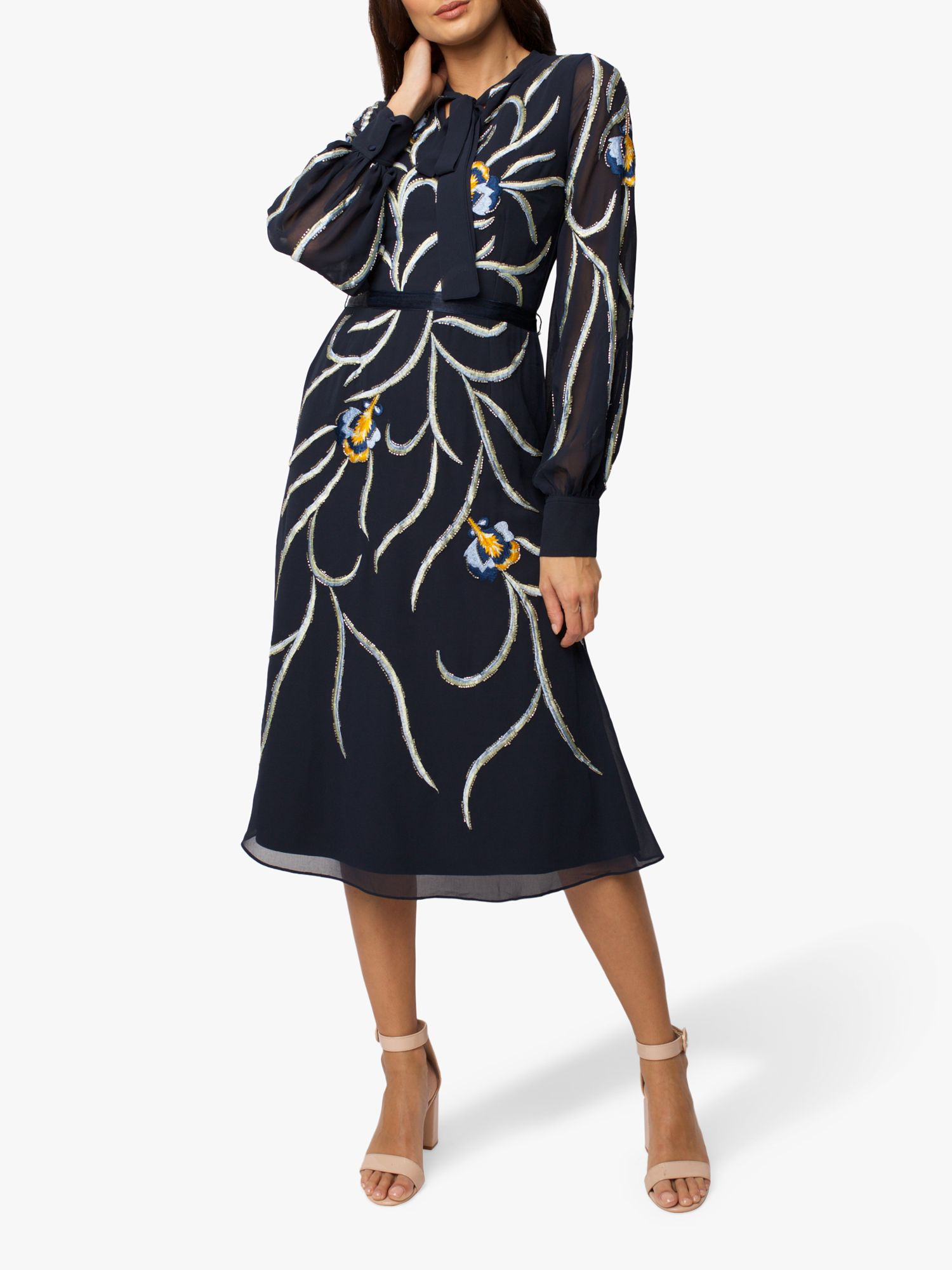 RAISHMA Raishma Dinah Embellished Midi Dress, Navy