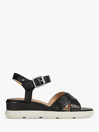 Geox Women's Pisa Wide Fit Wedge Sandals, Black