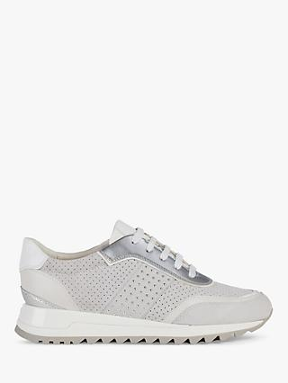 Geox Women's Tabelya Studded Lace Up Trainers, Off White
