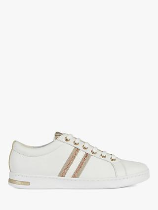 Geox Women's Jaysen Leather Lace Up Trainers, White/Rose Gold
