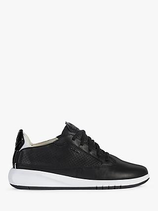 Geox Aerantis Leather Trainers, Black