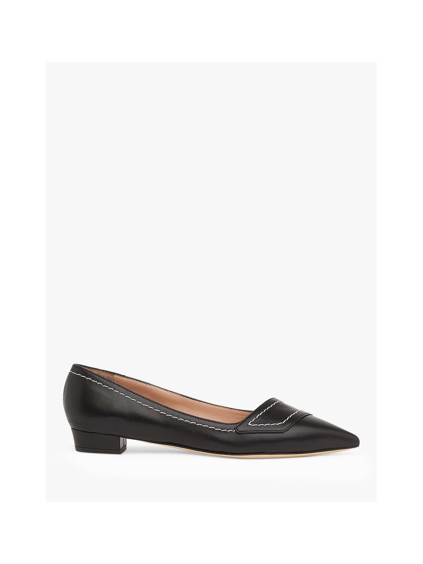Buy L.K.Bennett Polly Leather Pointed Toe Court Shoes, Black, 2 Online at johnlewis.com