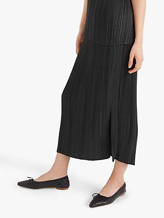 Club Monaco Micro Pleated Maxi Skirt, Dark Green