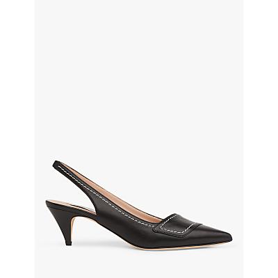 L.K.Bennett Heidi Leather Contrast Stitch Slingback Court Shoes, Black