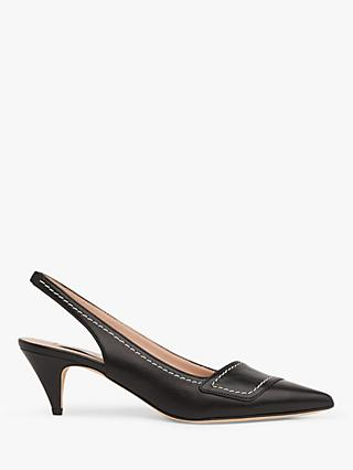 L.K.Bennett Heidi Leather Contrast Stitch Slingback Court Shoes, Black