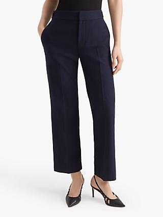 Club Monaco Textured Bootcut Trousers, Navy