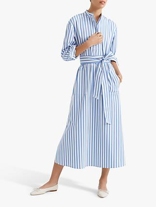 Club Monaco Half Placket Striped Midi Dress, Blue/Multi