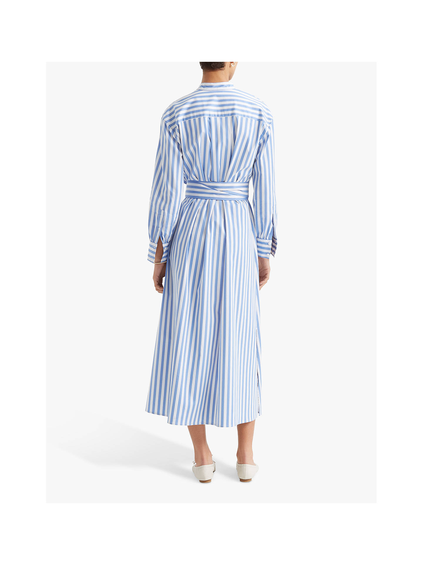 Buy Club Monaco Half Placket Striped Midi Dress, Blue/Multi, S Online at johnlewis.com