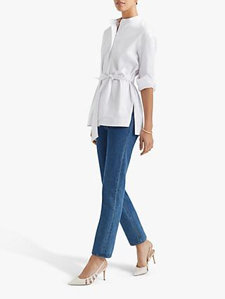 Club Monaco Half Placket Tie Waist Tunic, White