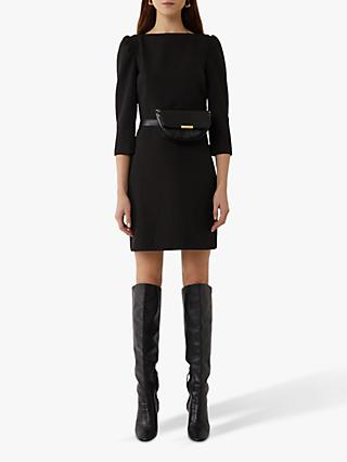 Warehouse Puff Sleeve Crepe Dress, Black