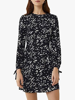 Warehouse Daisy Print Mini Dress, Black