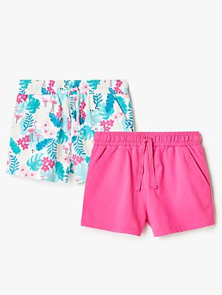 John Lewis & Partners Girls' Flamingo and Plain Shorts, Pack of 2, Pink/Multi