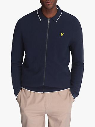 Lyle & Scott Knitted Tipped Zip Through Knit, Navy