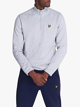 Lyle & Scott Quarter Zip Pique Sweatshirt, Light Grey Marl