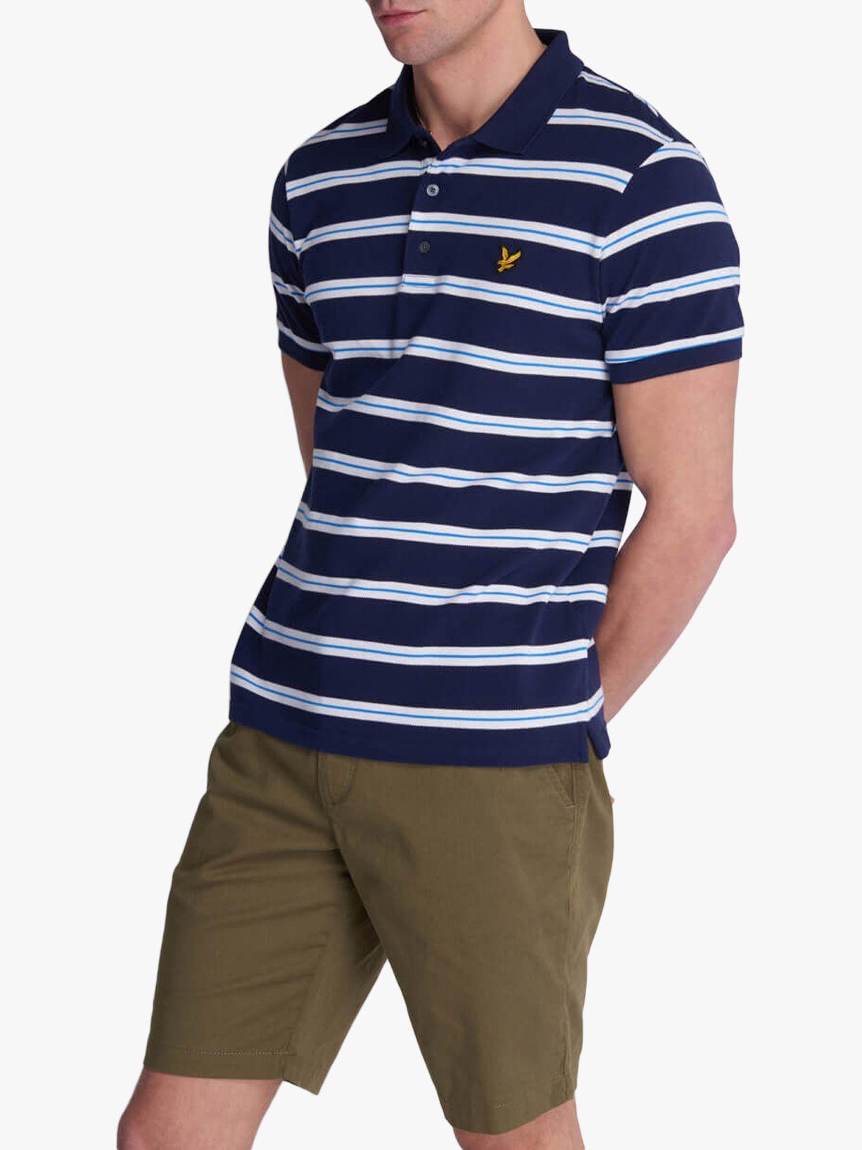 Lyle & Scott Lyle & Scott Wide Double Stripe Polo Shirt, Navy