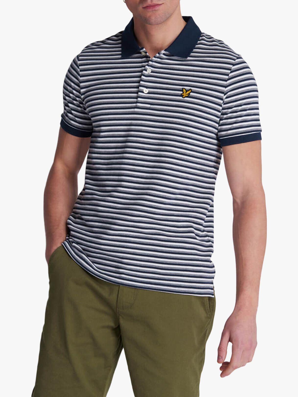 Lyle & Scott Lyle & Scott Stripe Polo Shirt, Navy