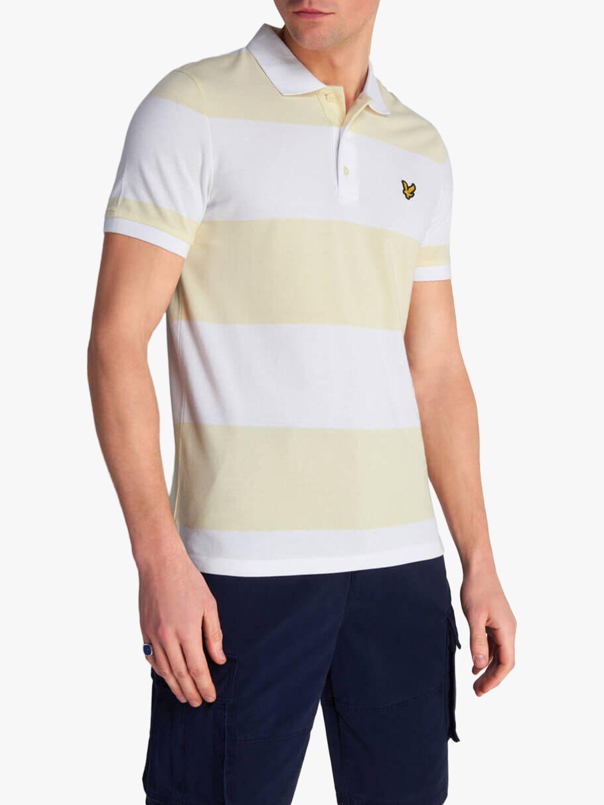 Lyle & Scott Lyle & Scott Stripe Cotton Polo Shirt, Buttercream