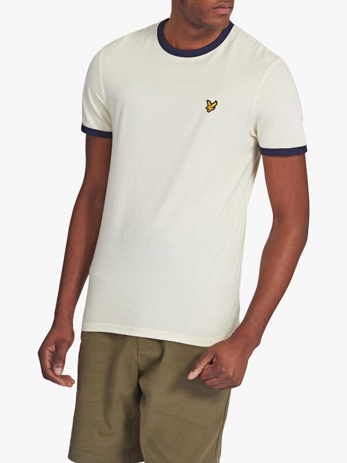 Lyle & Scott Lyle & Scott Ringer Crew Neck T-Shirt, White/Navy