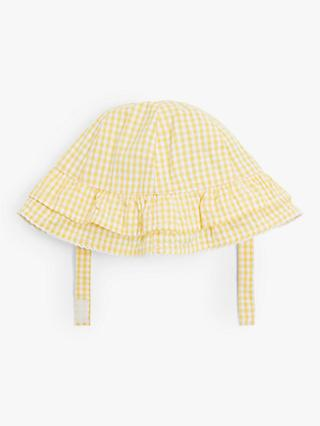 John Lewis & Partners Baby Gingham Hat, Yellow