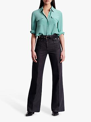 Gerard Darel Manon High-Waisted Wide Leg Jeans, Grey