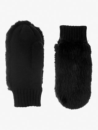 Mint Velvet Faux Fur Mittens, Black