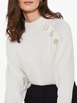 Mint Velvet Button Jumper, Natural Cream