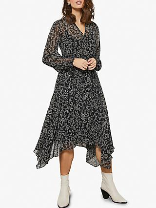 Mint Velvet Jessica V Neck Asymmetric Hem Paisley Print Dress, Black