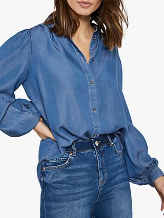 Mint Velvet Puff Sleeve Denim Shirt, Blue