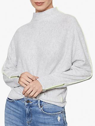 Mint Velvet Neon Batwing Funnel Neck Jumper, Light Grey