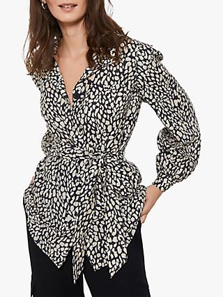 Mint Velvet Animal Print Belted Blouse, Multi