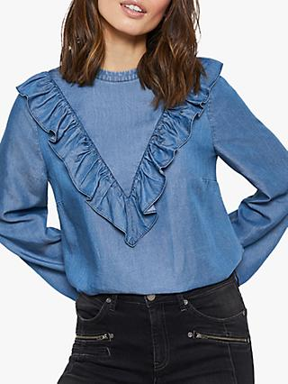 Mint Velvet Denim Ruffle Top, Blue/Multi