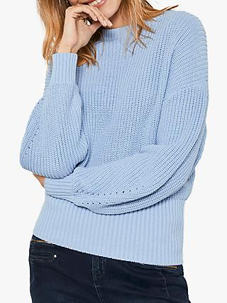 Mint Velvet Chunky Rib Boat Neck Jumper, Blue/Multi