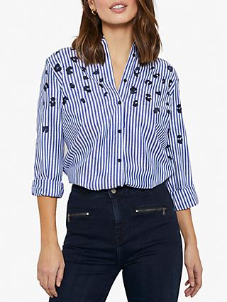 Mint Velvet Leopard and Stripe Print Cotton Shirt, Blue
