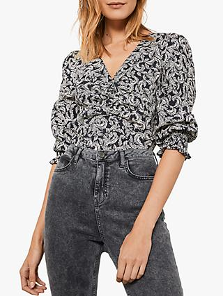 Mint Velvet Floral Fern V-Neck Puff Sleeve Top, Multi