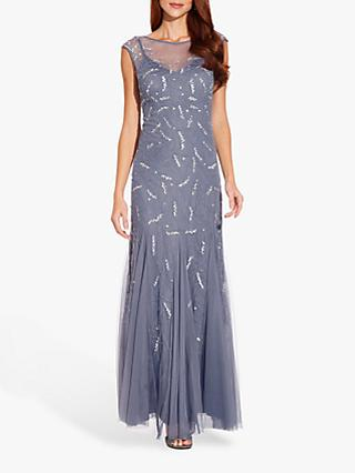 Adrianna Papell Cap Sleeve Beaded Gown, Cool Wisteria