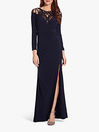 Adrianna Papell Sequin Yoke Maxi Gown, Midnight