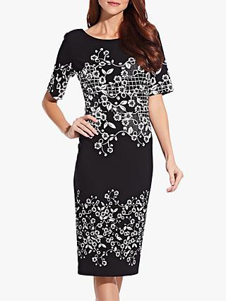 Adrianna Papell Blooming Trellis Shift Dress, Black/White