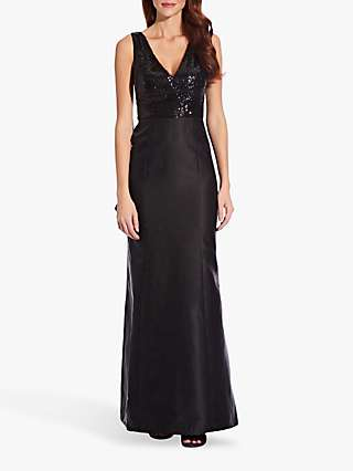 Adrianna Papell Sequin Mikado Dress, Black