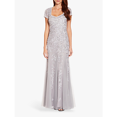 Product photo of Adrianna papell beaded godet gown silver mist