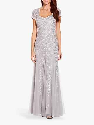 Adrianna Papell Beaded Godet Gown, Silver Mist