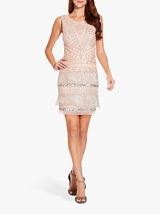 Adrianna Papell Beaded Fringe Mini Dress, Shell
