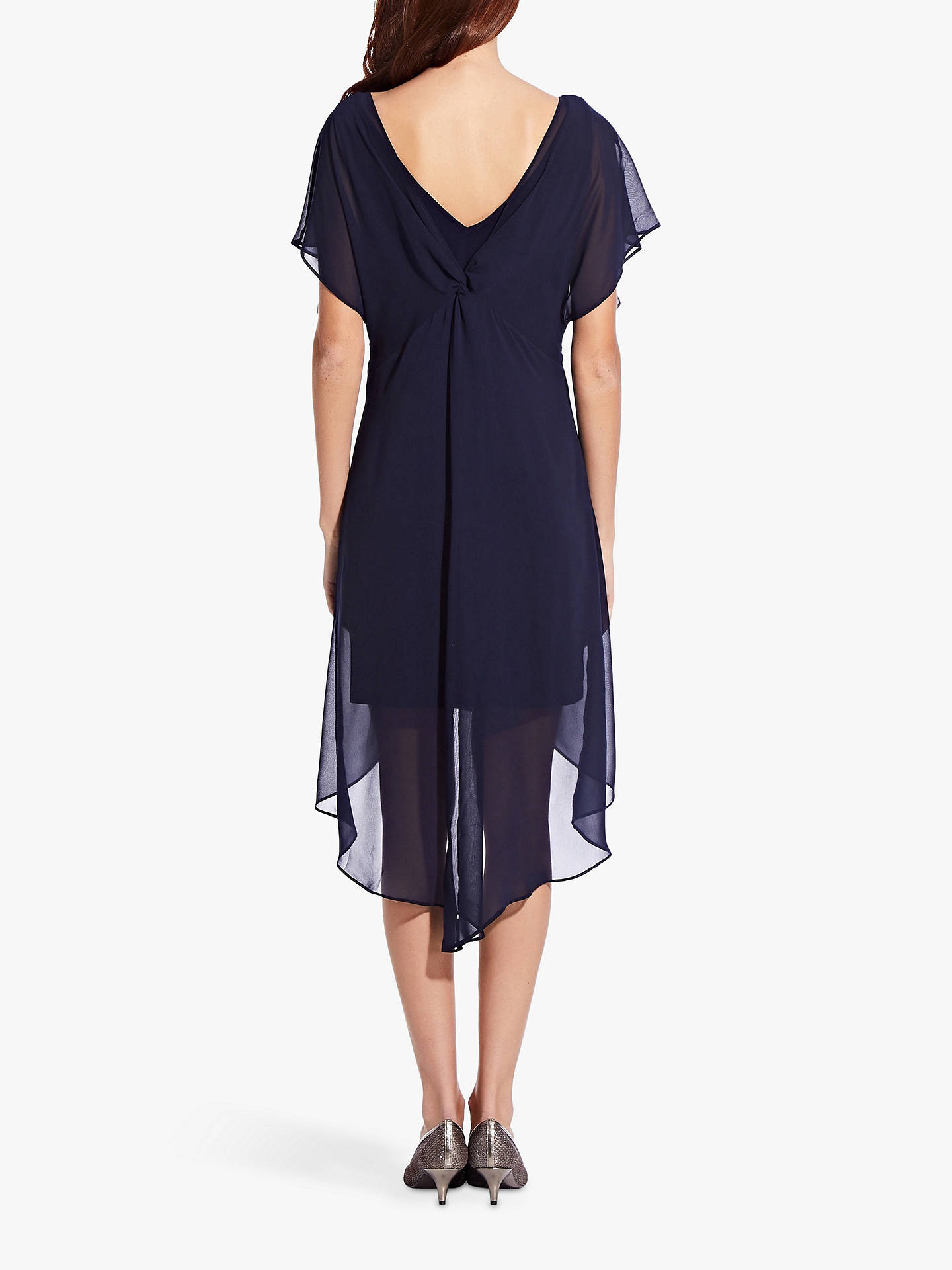Horizontal Tienda entrega a domicilio  Adrianna Papell Chiffon Overlay Draped Dress, Navy at John Lewis & Partners