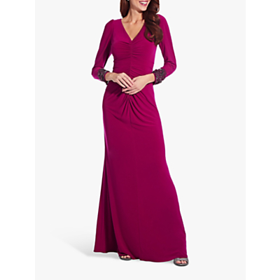 Product photo of Adrianna papell embellished draped jersey gown red plum