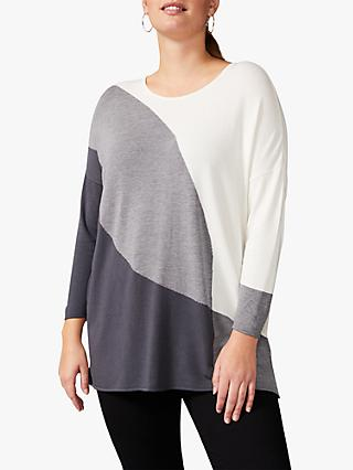 Studio 8 Louise Colour Block Top, Ivory/Grey