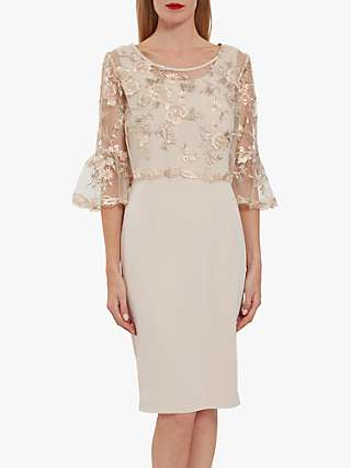 Gina Bacconi Nola Embroidered Floral Dress, Antique Rose