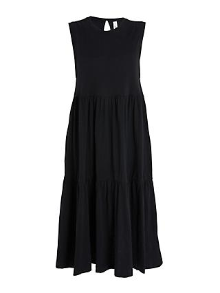 AND/OR Tiered Slub Jersey Dress, Black