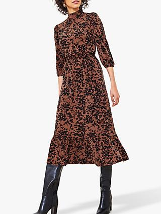 Oasis Leopard Print Midi Dress, Multi/Natural