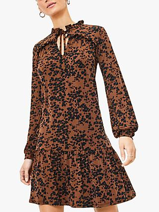 Oasis Leopard Print Skater Dress, Multi Natural