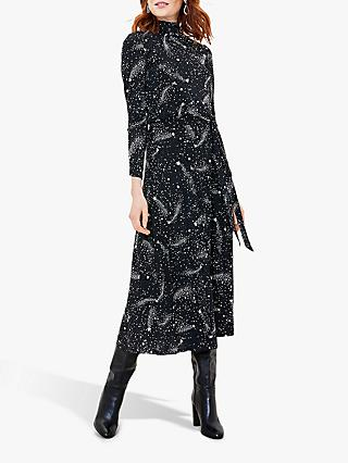Oasis Star Midi Dress, Black/White