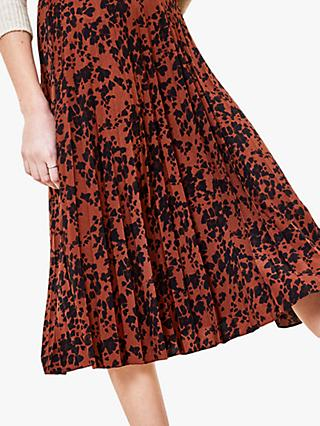 Oasis Leopard Print Pleated Skirt, Multi/Natural